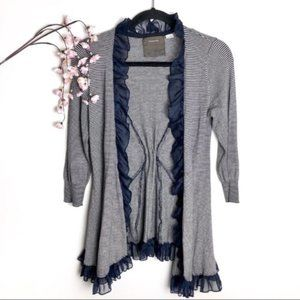 Anthropologie Guinevere Ruffle Striped Cardigan